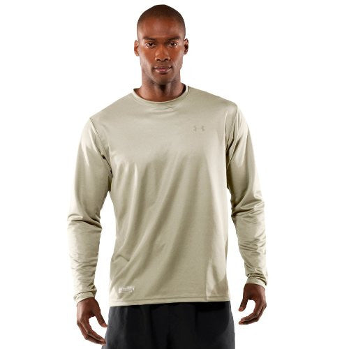 Men's UA HeatGear® Tactical Long Sleeve T-Shirt Tops by Under Armour (Color: Desert Sand/Clear Size:)