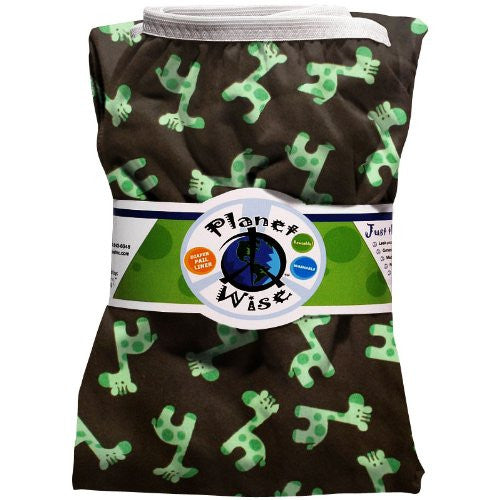 Planet Wise Diaper Pail Liner (Color: Green Giraffe)