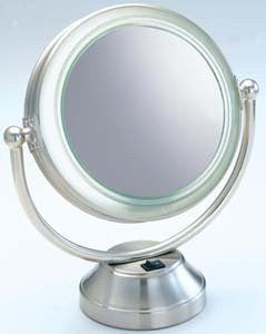 Fluorescent Lighted 5X to 1X Swivel Mirror in Brushed Nickel