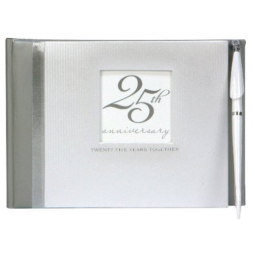Guest Book with Pen - Silver Anniversary