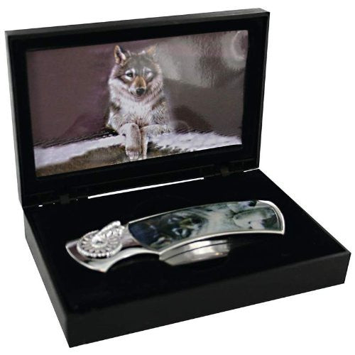 Maxam Lockback Knife with Decorative Wolf Inlay in Display Box