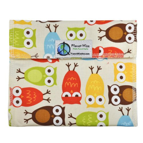 Planet Wise Sandwich and Snack Bags (Size: Sandwich Bag Color: Owls)