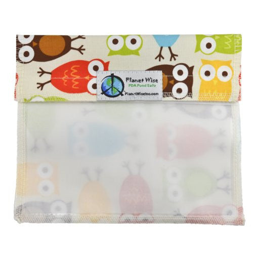 Planet Wise Sandwich and Snack Bags (Size: Window Sandwich Bag Color: Owls)