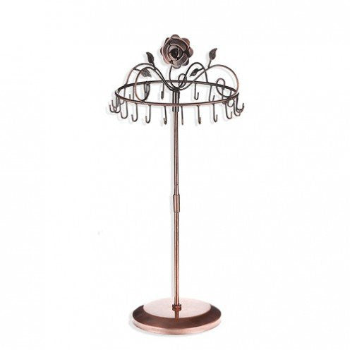 Rose on Top Rotating Necklace Stand (large) Copper Color