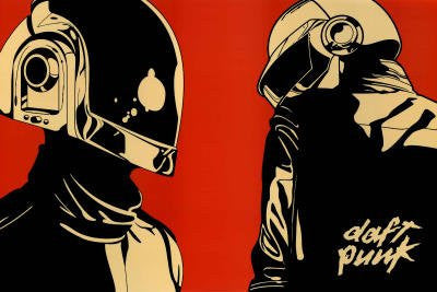 Daft Punk Helmet Red Background Music Poster Print - 36x24