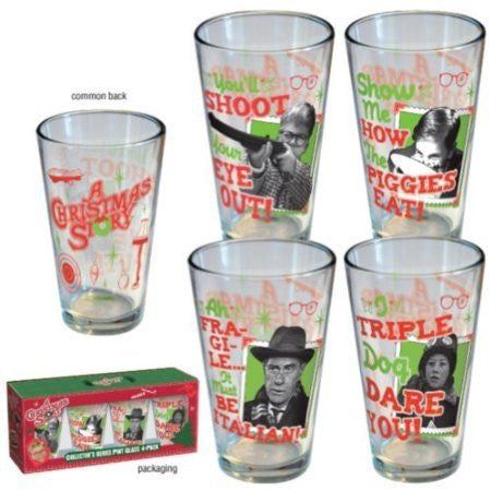A Christmas Story Clear Retro Set of 4 Pint Glasses