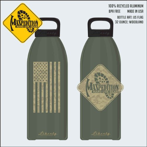 "MAXPEDITION 32oz Water Bottle ""FLAG"" (Woodland)"