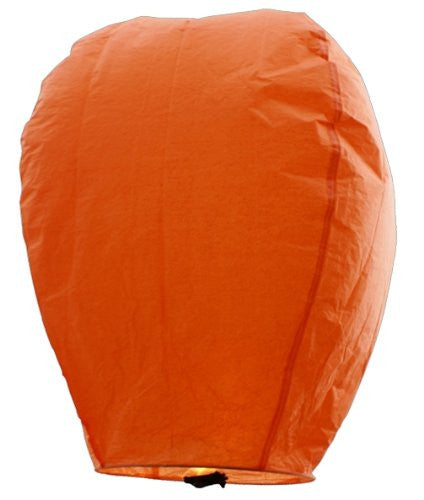 "40"" Tall Premium SKY LANTERNS - Fully Assembled - Flame Retardant - 100% Biodgradable (Size: Color: Orange)"