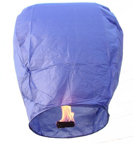 "40"" Tall Premium SKY LANTERNS - Fully Assembled - Flame Retardant - 100% Biodgradable (Size: Color: Blue)"
