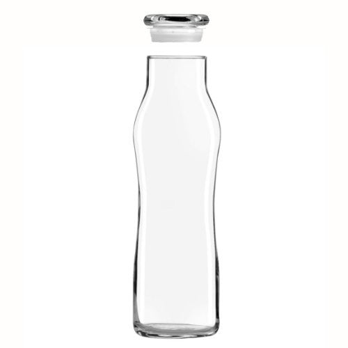 Libbey Glass 25 Oz. Hydration Decanter Carafe Bottle w/ Lid - Swerve Cylinder