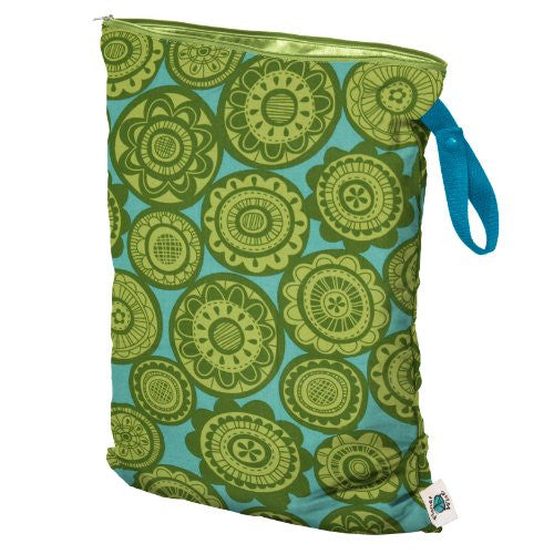 Planet Wise Wet Diaper Bag, Lime Somersaults, Large