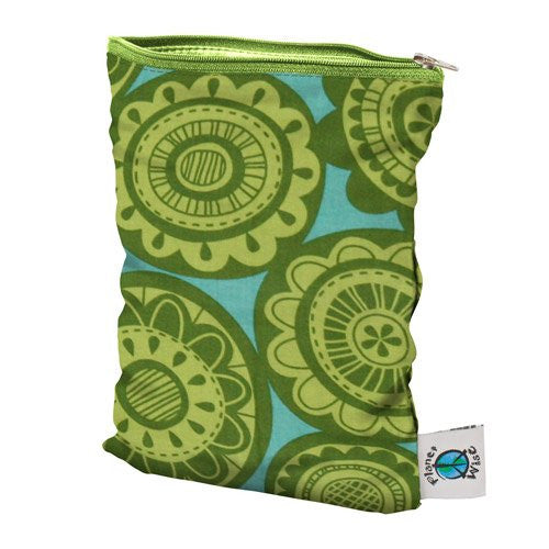 Planet Wise Wet Diaper Bag, Lime Somersaults, Medium