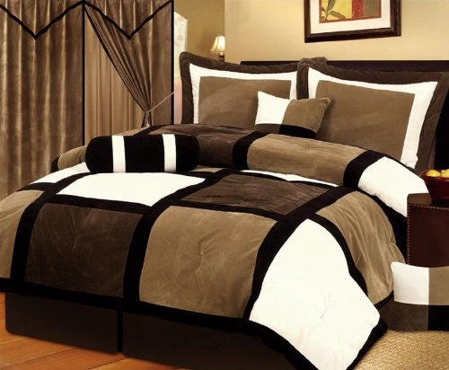 7 Piece Brown, Beige, and White Micro Suede Patchwork Comforter Set Machine Washable Bed-in-a-bag Set, (Size: Queen)