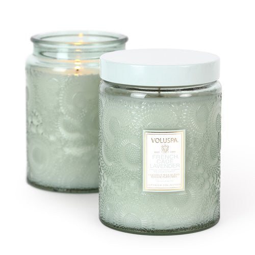 Japonica, French Cade  Lavender Large Glass Jar Candle 100 Hour 16 oz