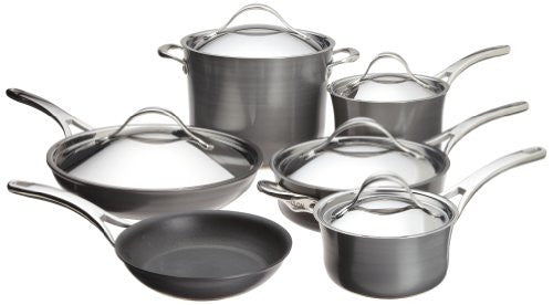 "11-Piece Set: 1.5 Qt. & 3 Qt. Covered Saucepans, 8 Qt. Covered Stockpot, 8.5"" Open Skillet, 12"" Covered Skillet, 3 Qt. Covered Sauté with Helper Handle"