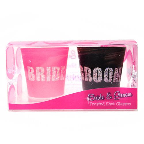 Pink Bride and Black Groom Shot Glass Set