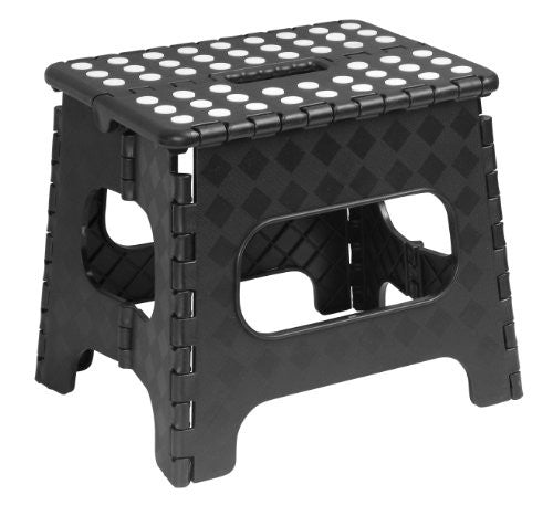 Folding Stool 12''X9''X11'' Black with Dots