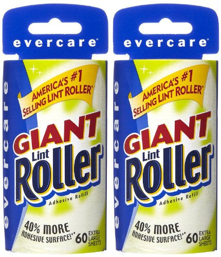 Evercare Giant Lint Roller, Extra Large Sheets Refill, 60 ct-2 pack