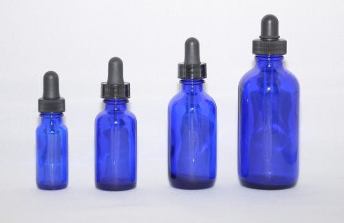 Cobalt Blue Boston Round Glass Bottle 4 oz w/ Dropper