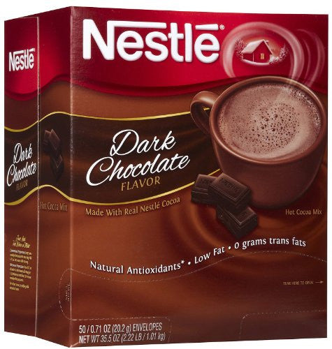 Nestle® Hot Cocoa Mix, Dark Chocolate, .71 oz. Packets, 50/Bx