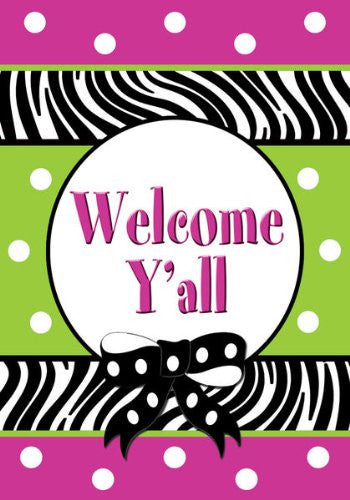 Custom Decor Welcome Y'all Large Garden Flag