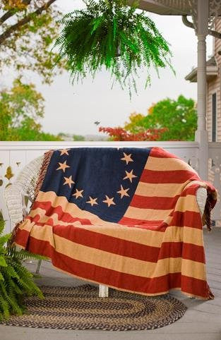 Old Glory Throw Woven 50x60""