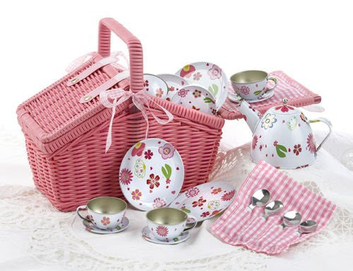 "4"" Tin 18 Pcs Tea Set for 4 / Picnic Basket, Pink"