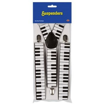 Piano Keyboard Suspenders (adjustable) Party Accessory  (1 count) (1/Pkg)