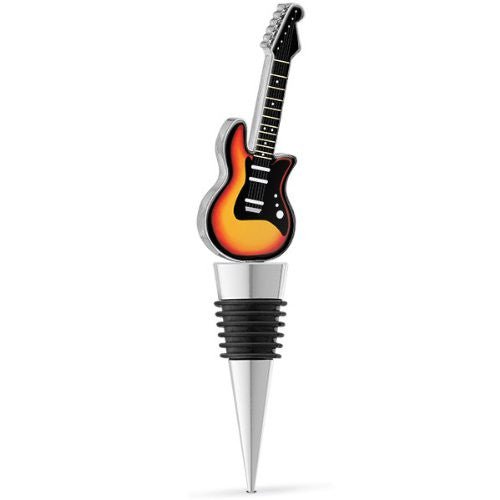 Inlaid Enamel Graphics Framed Sunburst Electric Guitar Bottle Stopper with Rubber Seal