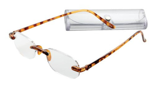 """Rimless Oval Gel Temples"" Travel Readers (Tortoise-1.75)"