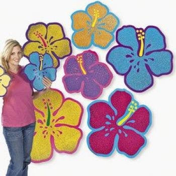 Glitter Hibiscus Cutouts 12-pc Set