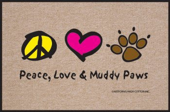 High Cotton Peace Love Paws Indoor / Outdoor Doormat