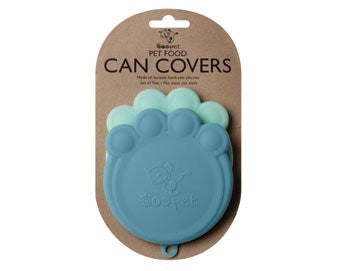 Set of 2 Pet Food Can Covers Paw Shaped Storage Lids (Color: Blue & Light Blue)