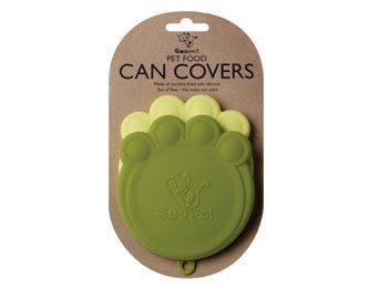 Set of 2 Pet Food Can Covers Paw Shaped Storage Lids (Color: Green & Yellow Green)