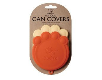 Set of 2 Pet Food Can Covers Paw Shaped Storage Lids (Color: Orange & Cream)