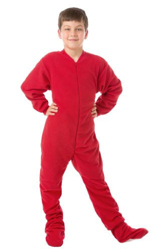 Big Feet PJs Red Junior Fleece Footed Pajamas