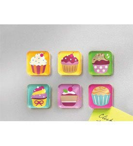 Be Square Magnets/Cupcakes 6/Card - Assorted