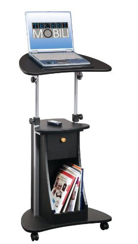 Techni Mobili Deluxe Rolling Laptop Cart with Storage in Black