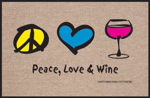 High Cotton Peace Love Wine Doormat (Discontinued by Manufacturer)