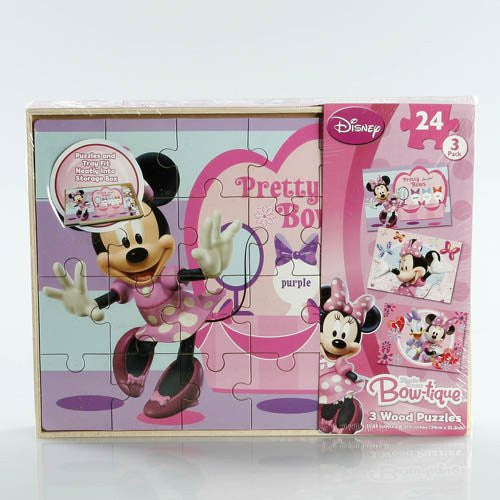 LICENSED 3 WOOD PUZZLES IN WOOD STORAGE BOX - Minnie Mouse