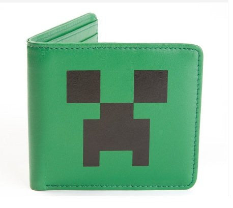 Minecraft Creeper Face Leather Wallet - Green/Black