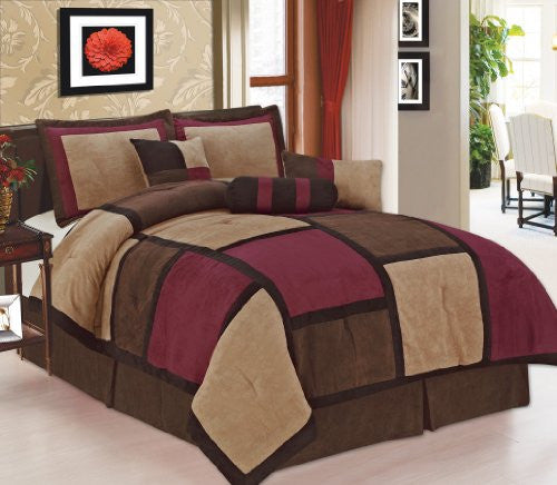 7 Piece Burgundy, Brown, Beige Micro Suede Patchwork Comforter Set Machine Washable Bed-in-a-bag Set, (Size:Queen)