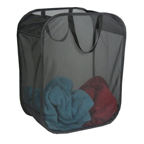 Laundry Black Single Micro Mesh Hamper with Handle