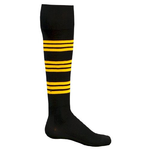 Florescent Warrior Athletic Socks, Large, Black/Flo. Yellow
