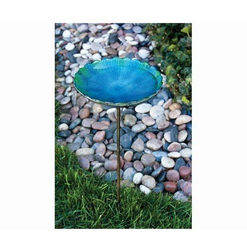 Birdbath on Stake, Sea Glass
