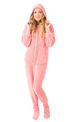Big Feet Pjs Pink Hoodie Plush Footed Pajamas w/Drop Seat
