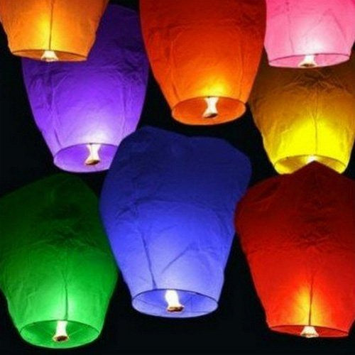20 Chinese Sky Fly Fire Lanterns Wish Party Wedding Birthday Multi Color (Color: Multi)