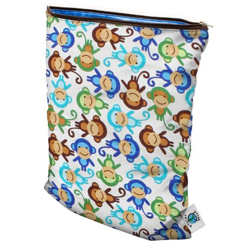 Planet Wise Wet Diaper Bag, Monkey Fun, Medium