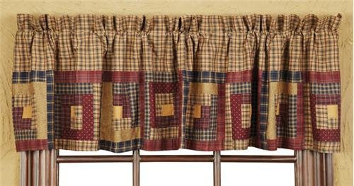 Millsboro Valance Log Cabin Block Border Lined 16x72""