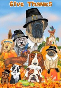 Thanksgiving Dogs - 12 Inch X 18 Inch Garden Size Decorative Flag